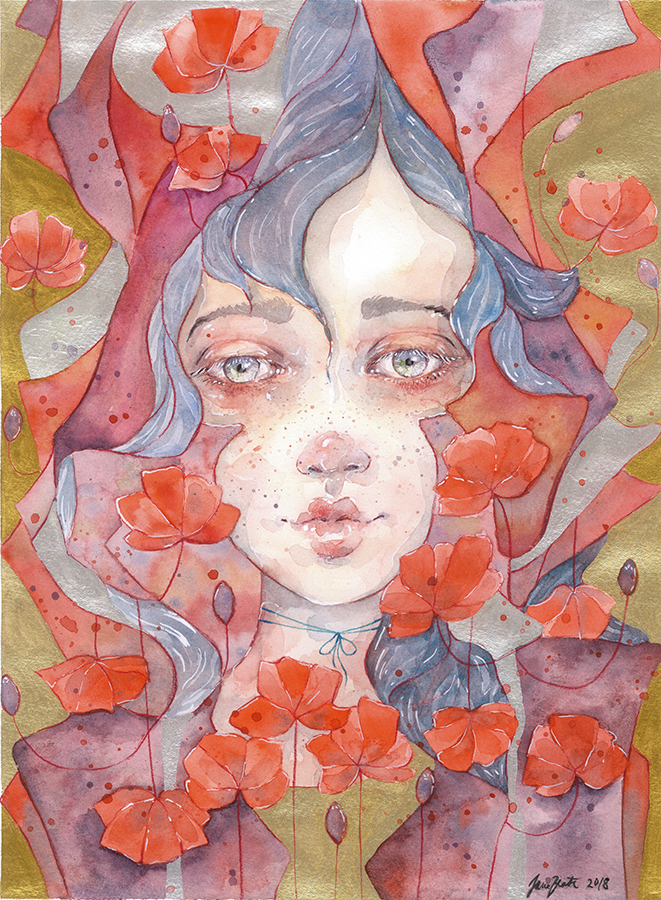 Watercolor fantasy portrait - MARINA (+ tutorial) by jane-beata