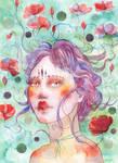 Watercolor fantasy portrait - EMILY