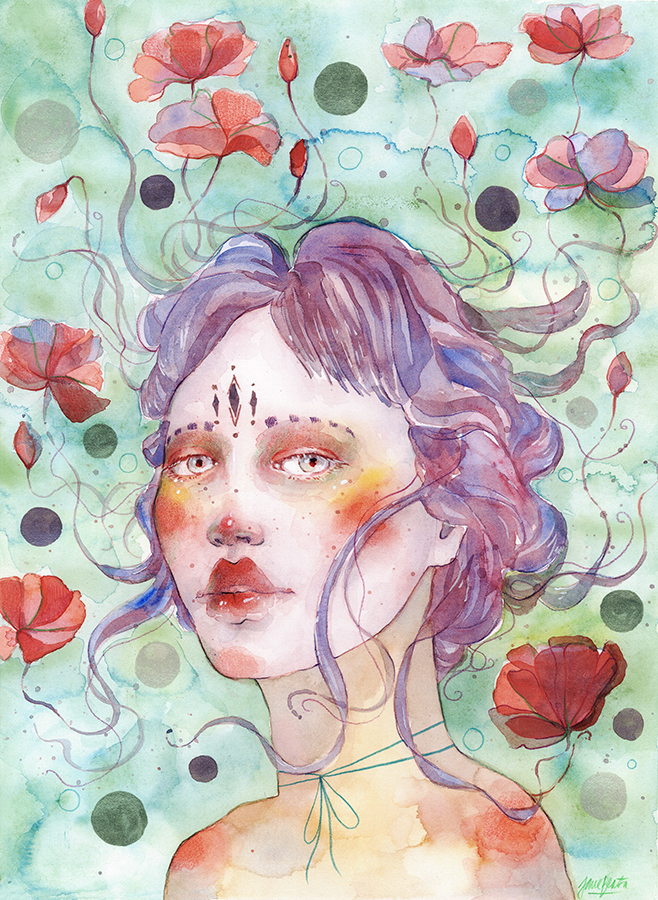 Watercolor fantasy portrait - EMILY by jane-beata