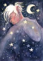 Night Walker, watercolor illustration by jane-beata