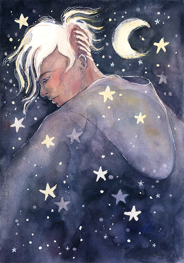 Night Walker, watercolor illustration by jane-beata