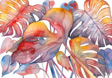 Monstera, watercolor painting by jane-beata