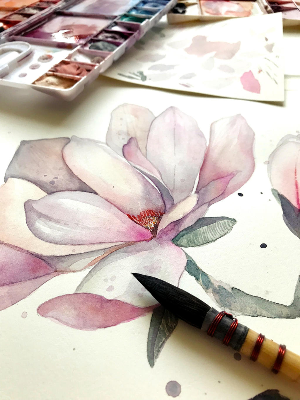 Magnolia, watercolor painting - WIP by jane-beata