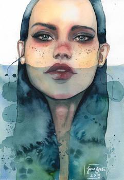 Siren, watercolor painting