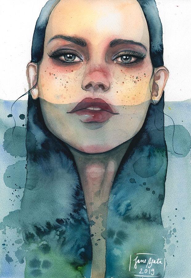 Siren, watercolor painting by jane-beata
