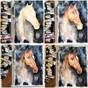 STEP-BY-STEP, watercolor portrait of a horse