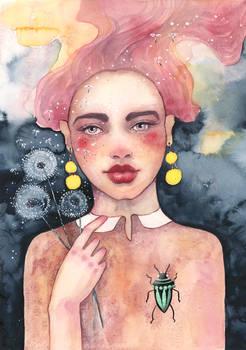 Dandelion, watercolor painting