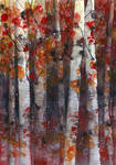 Birch trees - autumn watercolor painting