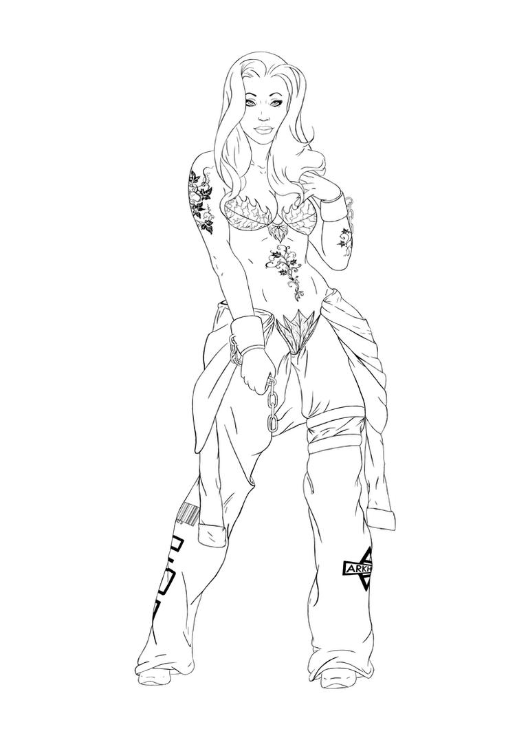 Digital Line Art : Poison ivy re design line art by digital clown on deviantart
