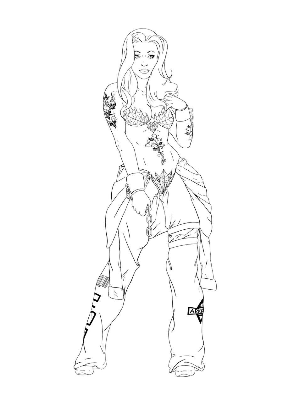 Line Design Art With Mr E : Poison ivy re design line art by digital clown on deviantart