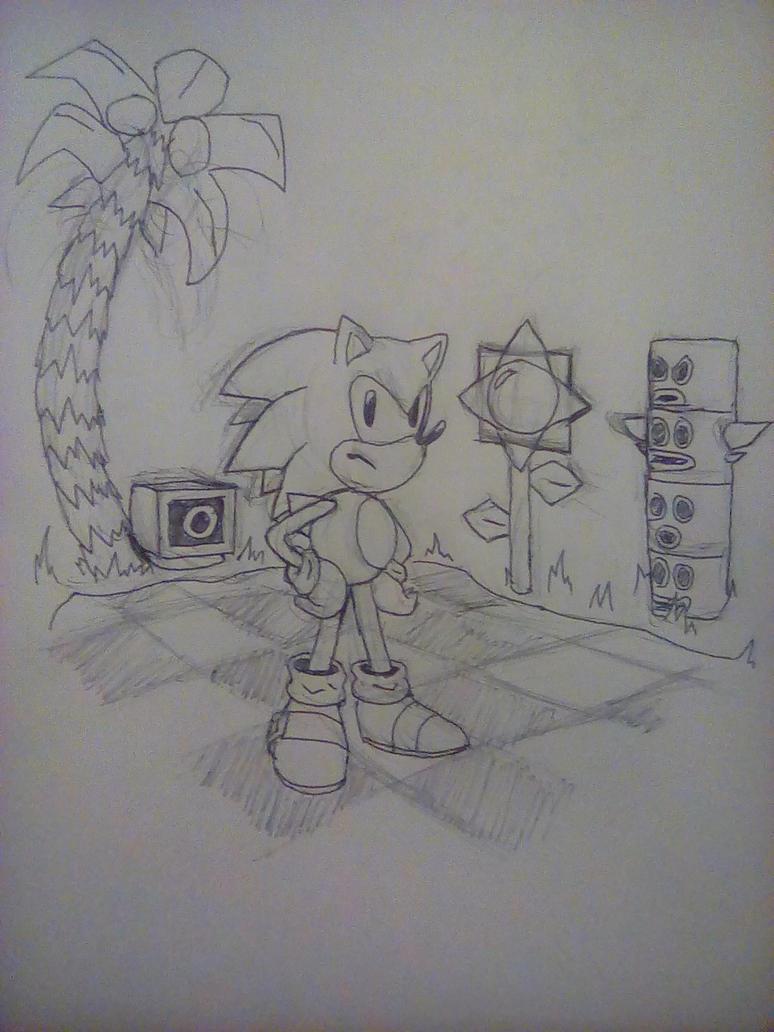 (Sketch) Sonic in Green Hill Zone by PKstarship