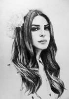Lana Del Rey Pencil Drawing by JordanWindows2