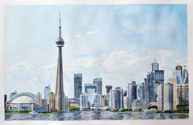 Toronto Skyline Watercolor by Tyleen