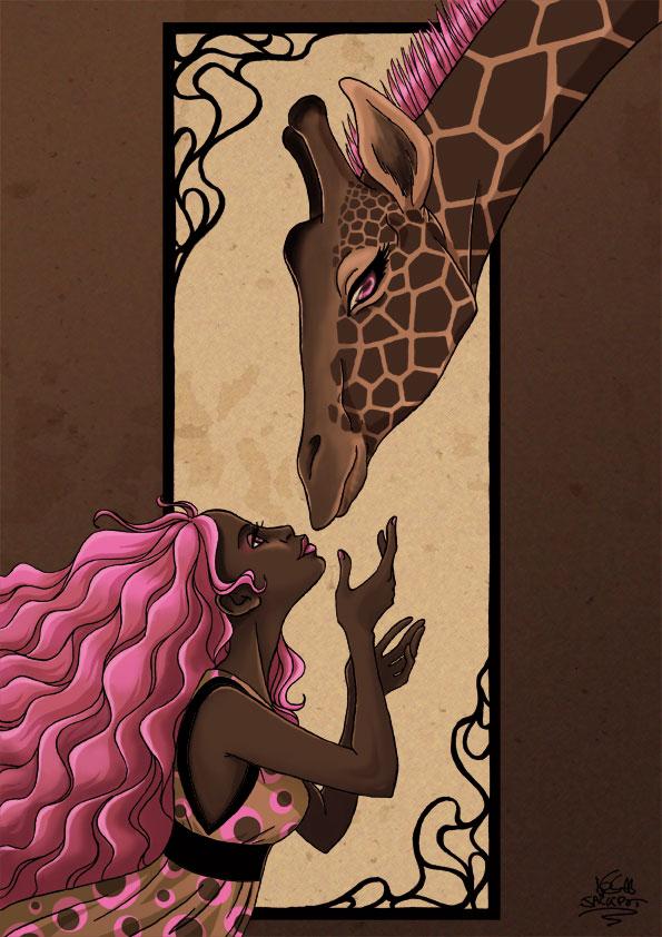 Girl and Giraffe by JackPot-84