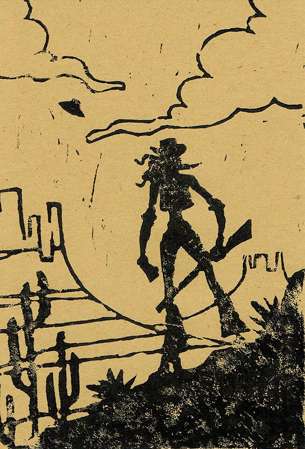 +linocut+ Jo in the desert by JackPot-84