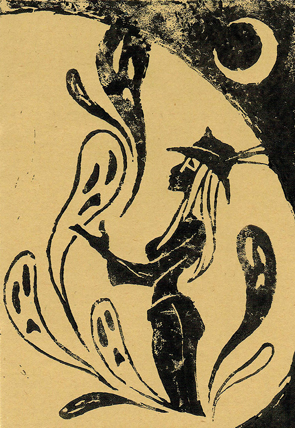 +linocut+ Marie and the spirits by JackPot-84