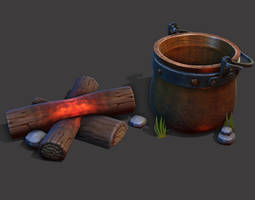 Camp Fire Cauldron Game ready model