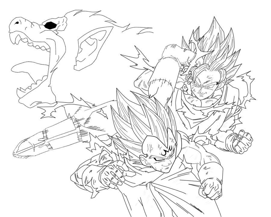 Majin Vegeta Vs Ssj2 Goku Lineart By Brusselthesaiyan On: Goku SSJ2 VS Majin Vageta By Heerog On DeviantArt