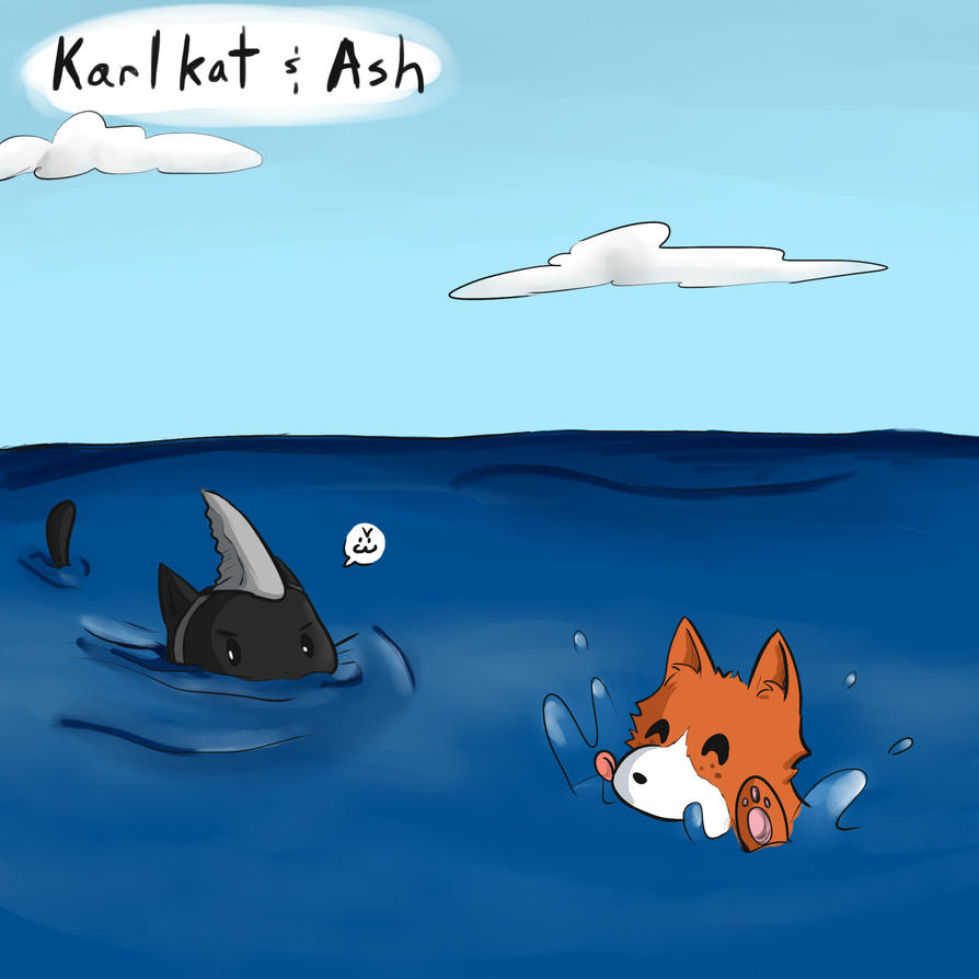 Karlkat and Ash - Swimming in the ocean by Delpha