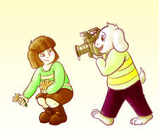 Chara and Asriel by BeckHop