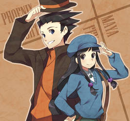 Phoenix Wright and Maya by raemz-desu