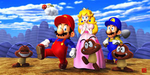 Mario and Goomba and Peach by GEKIMURA