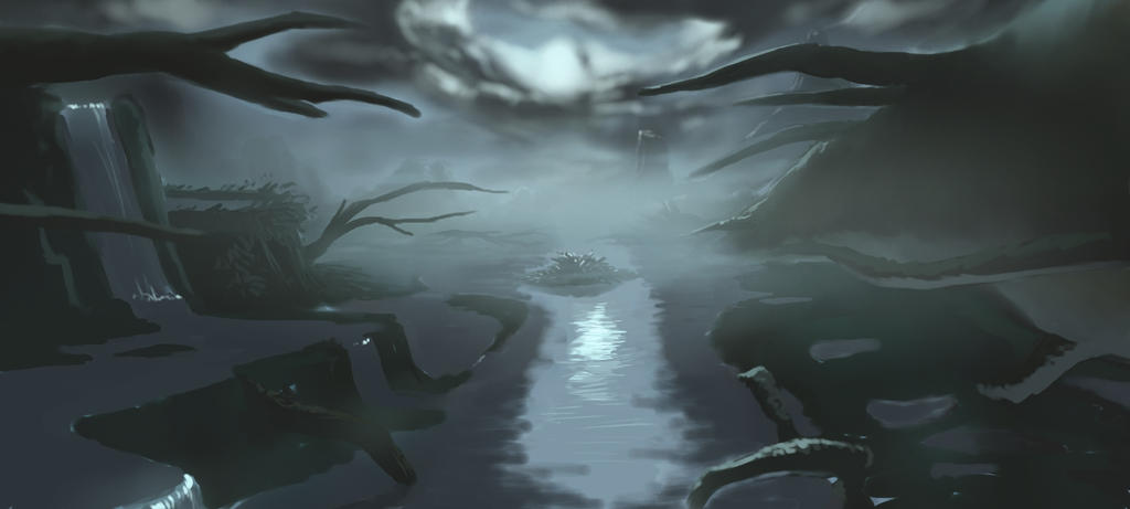 Landscape Practise - Swamp 1 by strawberryzombie