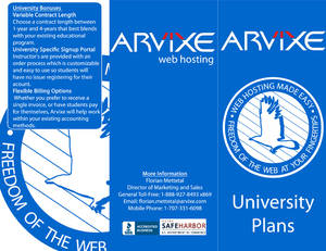 Arvixe Brochure Pages 1,3,6