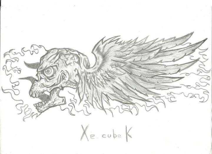 Dibujos de calaveras con alas y fuego a lapiz  Imagui