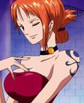 Nami in red dress - One Piece movie 7