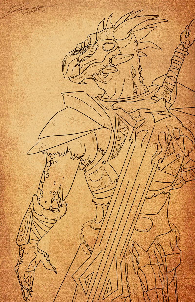 Skyrim Argonian Knight Outline by DJCoulz