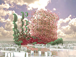 Sudden growth of fractal flowers by janhein