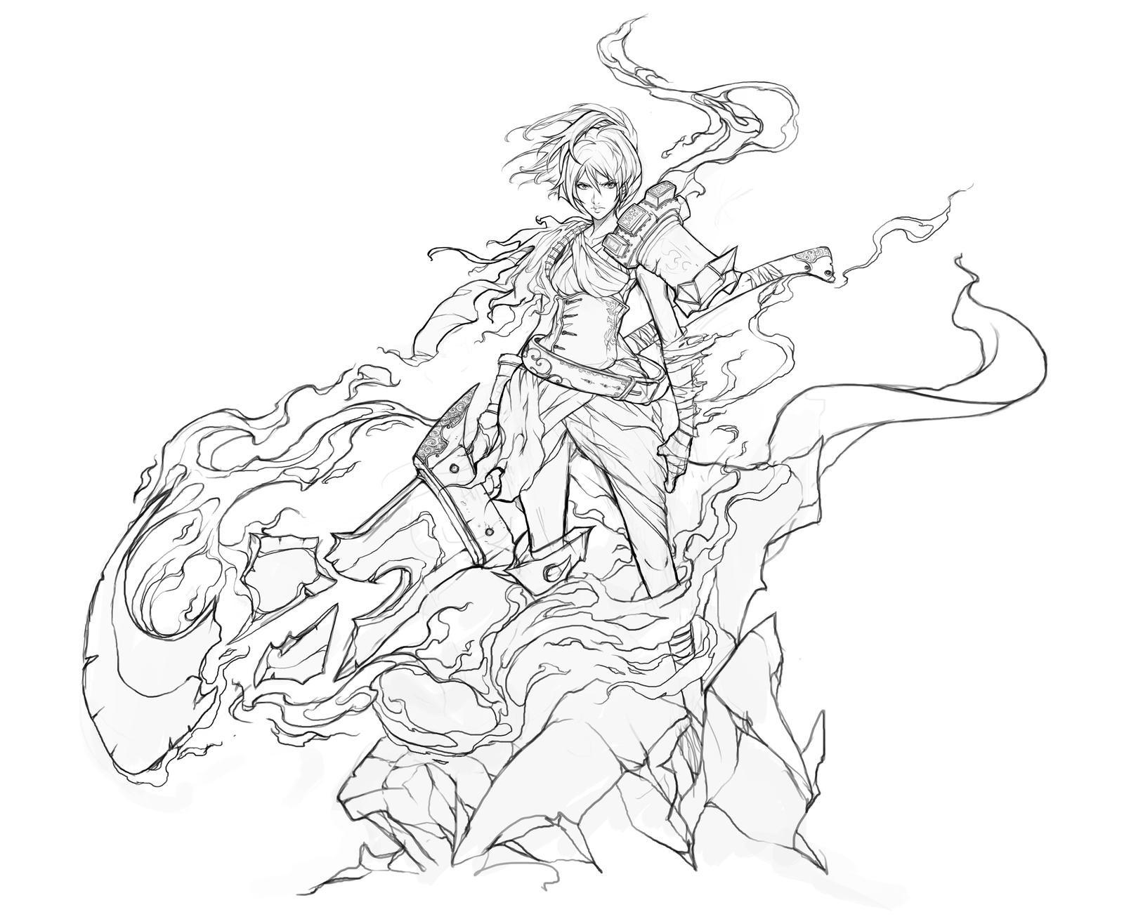Line Drawing Artist Research : Riven stream lineart by muju on deviantart