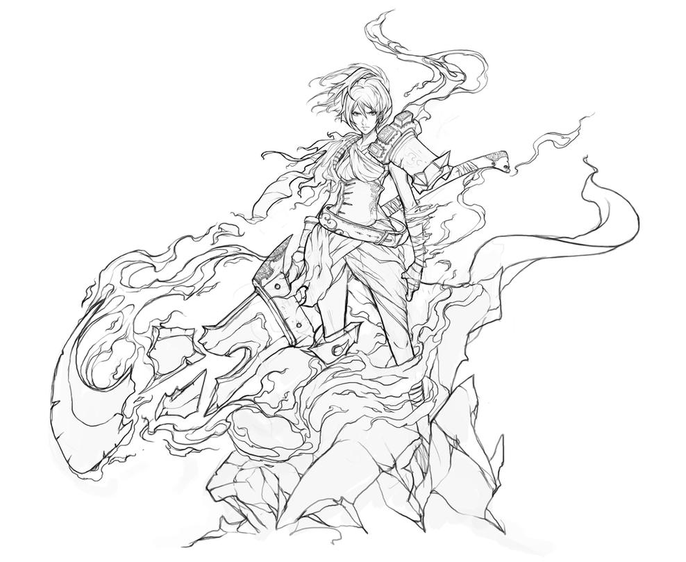 Line Drawing Game : Riven stream lineart by muju on deviantart