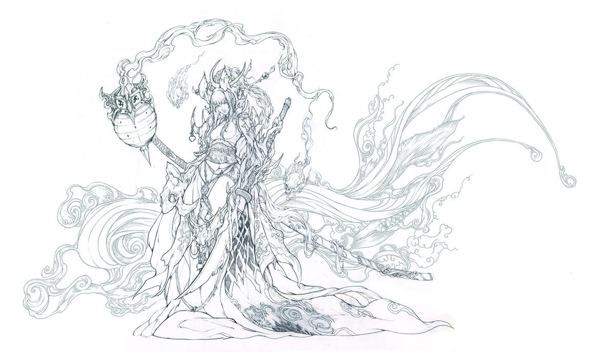 Patreon Bonus - Demon sword pencil lineart by muju on ...