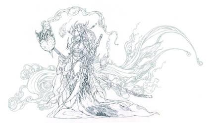 Patreon Bonus - Demon sword pencil lineart by muju