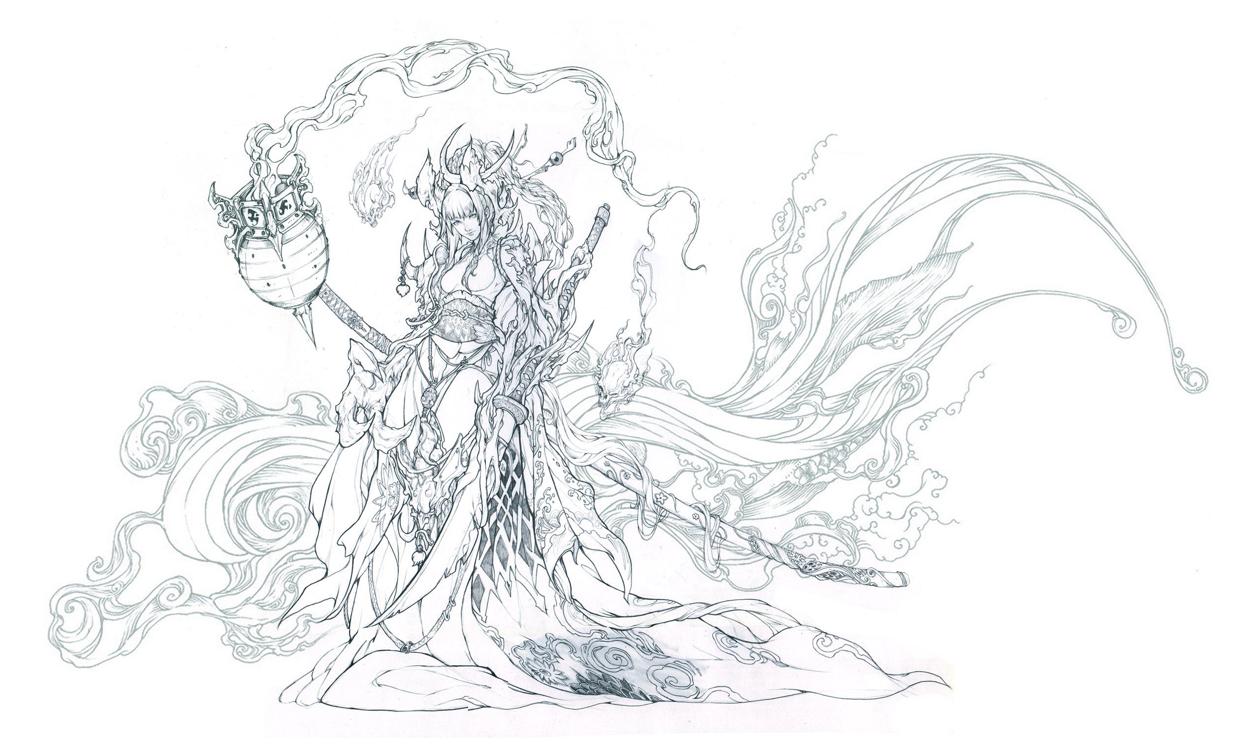patreon bonus demon sword pencil lineart by muju on