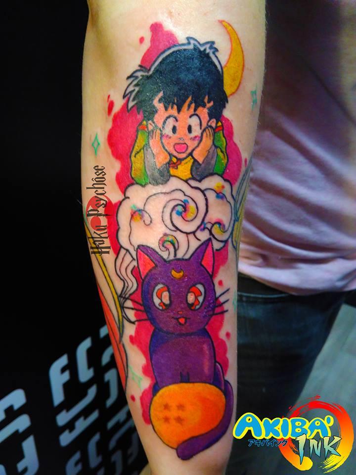 3ac32282b8cc9 Son Gohan and Luna from Sailor Moon tattoo by Haku-Psychose on ...