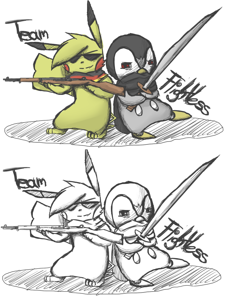 Team Flightless [Coloured+Uncoloured] by PikaIsCool