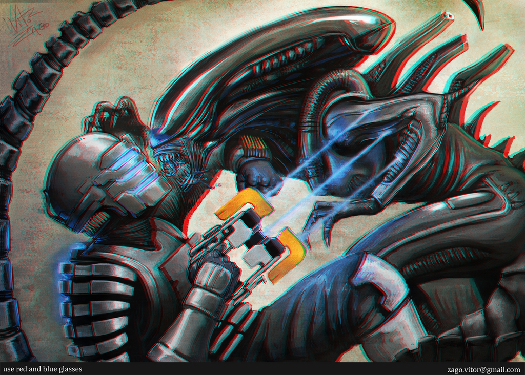 Alien VS DeadSpace 3D by vitorzago
