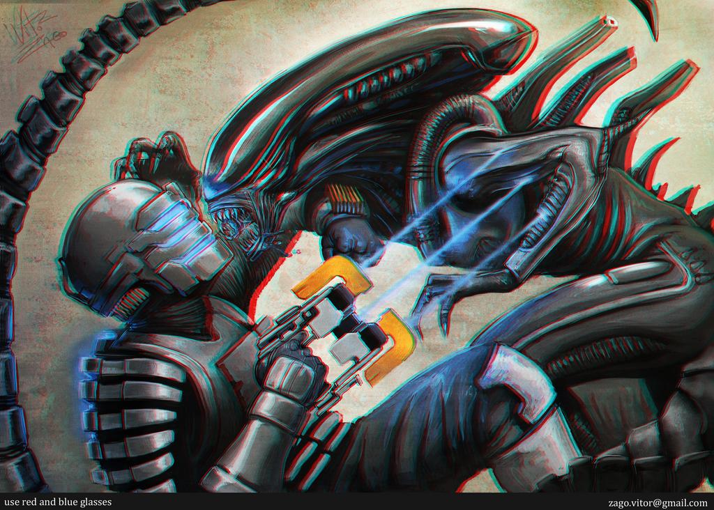 Alien VS DeadSpace 3D by vitorzago