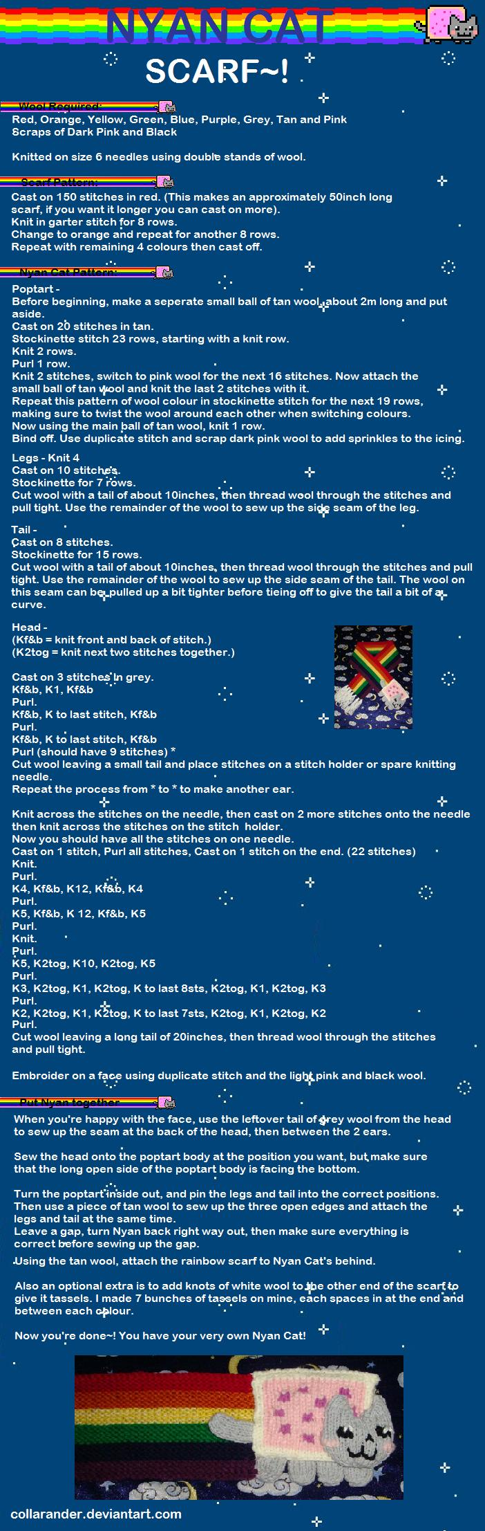 Nyan Cat Scarf Pattern by collarander