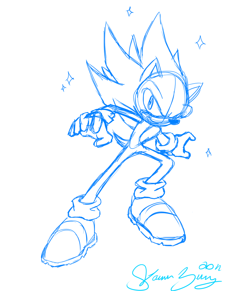 Hyper Sonic :SKETCH: by lalaraptor on DeviantArt