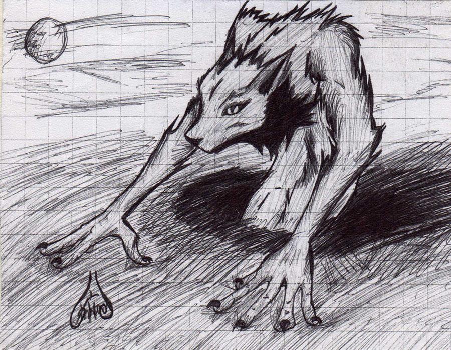Werewolf in the night by Lunard-Wolf
