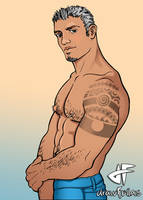 Pecs and Tattoo by drawfellas