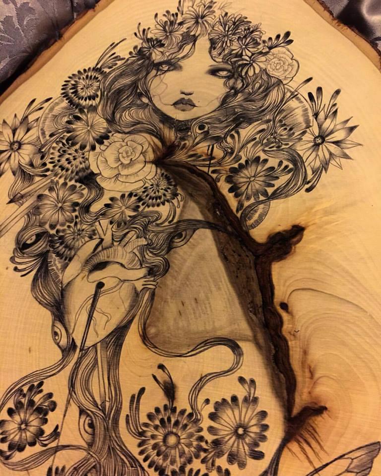 Polaris original art on wood 2 by lalalandofclouds