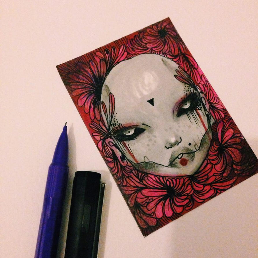Crimson halloween ACEO card by lalalandofclouds
