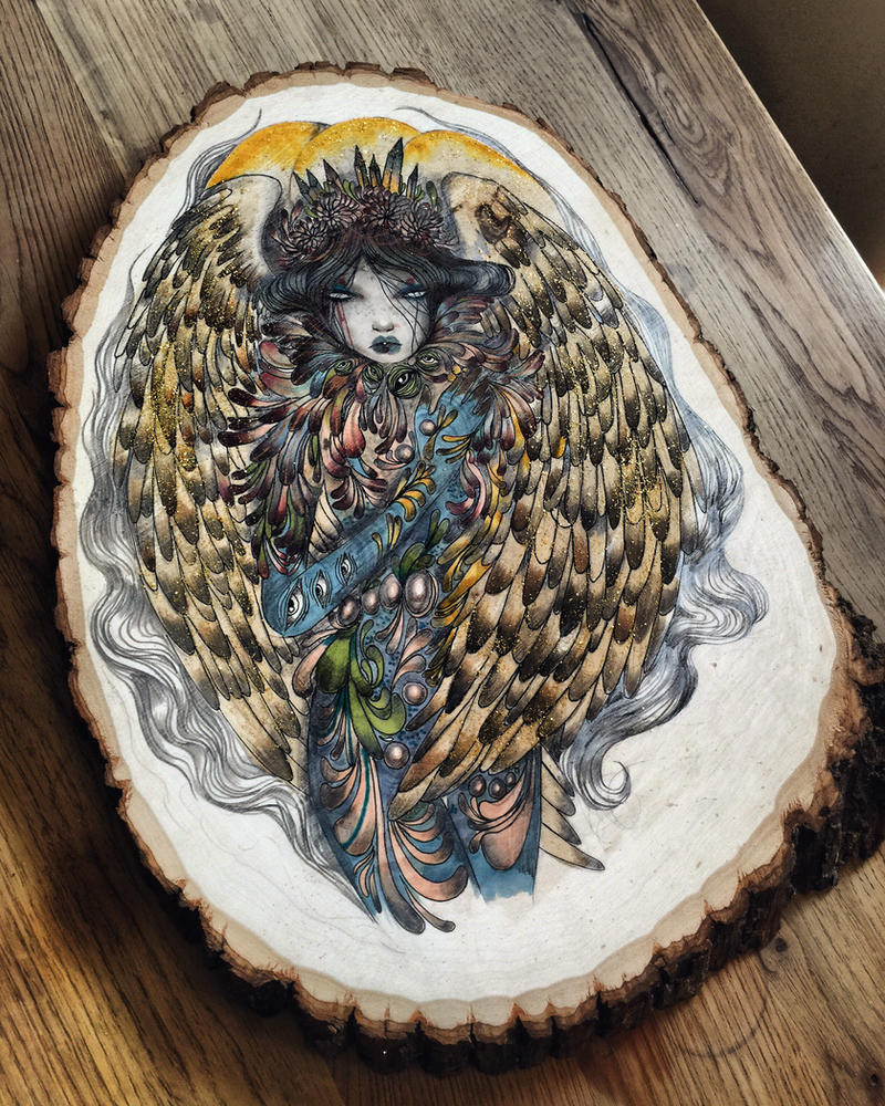 Angel on wood  by lalalandofclouds