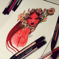Red woman  by lalalandofclouds