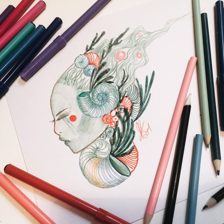 Water spirit | poundshop art challenge by lalalandofclouds